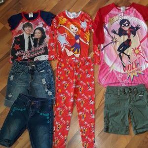 Size 10 girls lot pajama jean shorts shirt Bin4